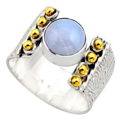 3.36cts victorian natural blue lace agate 925 silver two tone ring size 7 r18596