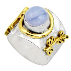 3.13cts victorian natural blue lace agate 925 silver two tone ring size 6 r18598
