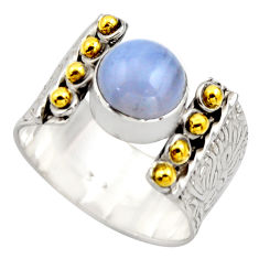 925 silver 3.28cts victorian natural blue lace agate two tone ring size 7 r18600