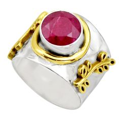 2.50cts victorian natural red ruby 925 silver two tone ring size 7.5 r18602