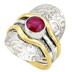 2.75cts victorian natural red ruby 925 silver two tone ring size 9.5 r18606
