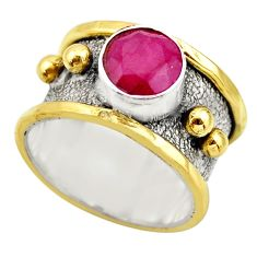 925 silver 2.54cts victorian natural red ruby round two tone ring size 9 r18607