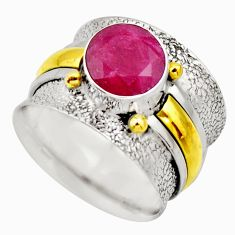 2.50cts victorian natural red ruby 925 silver two tone ring size 8.5 r18609