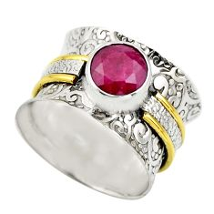 925 silver 2.41cts victorian natural red ruby round two tone ring size 6 r18614