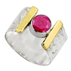 2.51cts victorian natural red ruby 925 silver two tone ring size 9.5 r18616