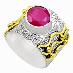 2.63cts victorian natural red ruby 925 silver two tone ring size 8.5 r18618