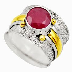 925 silver 2.41cts victorian natural red ruby two tone ring size 7.5 r18620