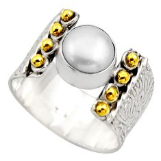 3.16cts victorian natural white pearl 925 silver two tone ring size 8.5 r18637