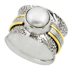 3.27cts victorian natural white pearl 925 silver two tone ring size 7 r18638