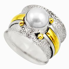 925 silver 3.13cts victorian natural white pearl two tone ring size 8.5 r18639