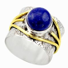 4.68cts victorian natural blue lapis lazuli silver two tone ring size 7 r18643