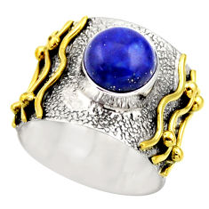 4.71cts victorian natural blue lapis lazuli silver two tone ring size 8 r18646