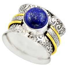 4.91cts victorian natural blue lapis lazuli silver two tone ring size 8 r18649