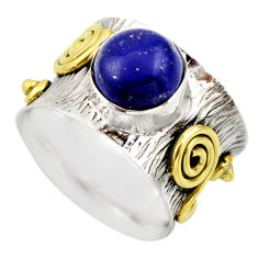 4.38cts victorian natural blue lapis lazuli silver two tone ring size 6 r18652