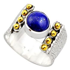 4.52cts victorian natural blue lapis lazuli silver two tone ring size 9.5 r18660