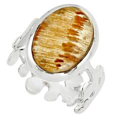 6.70cts natural golden cacoxenite super seven 925 silver ring size 6 r18790