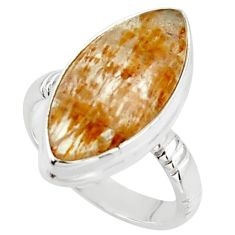 15.08cts natural golden cacoxenite super seven 925 silver ring size 8 r18791