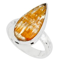 8.77cts natural golden cacoxenite super seven 925 silver ring size 7.5 r18794