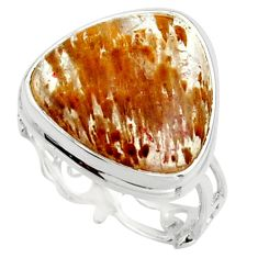 925 silver 12.60cts natural golden cacoxenite super seven ring size 8 r18797