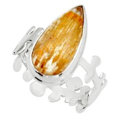 6.36cts natural golden cacoxenite super seven 925 silver ring size 8 r18798