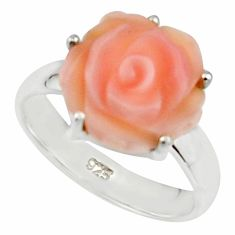 4.95cts pink coral 925 sterling silver flower solitaire ring size 6 r18846