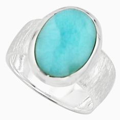 5.53cts natural blue larimar 925 sterling silver solitaire ring size 7 r18881