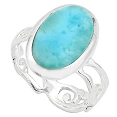 5.81cts natural blue larimar 925 sterling silver solitaire ring size 7.5 r18882