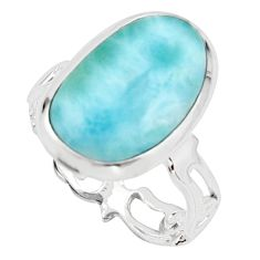 925 sterling silver 8.77cts natural blue larimar solitaire ring size 8 r18884