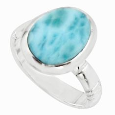 5.30cts natural blue larimar 925 sterling silver solitaire ring size 6 r18889