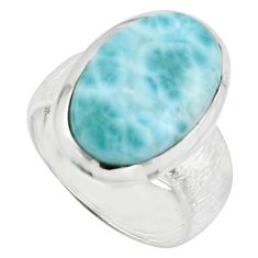 12.31cts natural blue larimar 925 sterling silver solitaire ring size 8 r18891