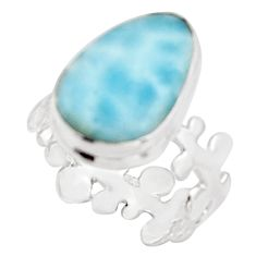 7.54cts natural blue larimar 925 sterling silver solitaire ring size 7 r18893