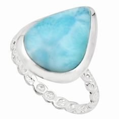 925 sterling silver 6.25cts natural blue larimar solitaire ring size 7.5 r18894