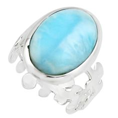 10.24cts natural blue larimar 925 sterling silver solitaire ring size 8 r18895