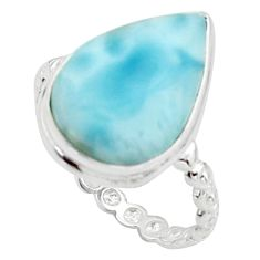 8.73cts natural blue larimar 925 sterling silver solitaire ring size 8 r18897