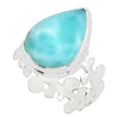 925 sterling silver 10.78cts natural blue larimar solitaire ring size 8 r18898