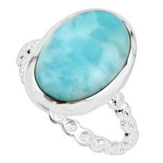 6.43cts natural blue larimar 925 sterling silver solitaire ring size 8 r18899