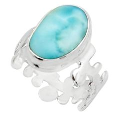 6.48cts natural blue larimar 925 sterling silver solitaire ring size 6.5 r18900