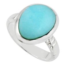 925 sterling silver 6.02cts natural blue larimar solitaire ring size 7 r18904