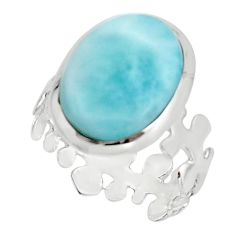 9.47cts natural blue larimar 925 sterling silver solitaire ring size 8 r18913