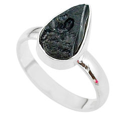 A gem from space black tektite 925 sterling silver ring size 8 t14408