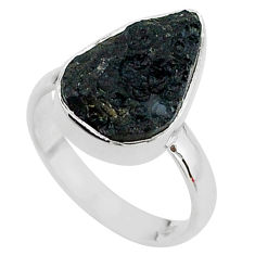 A gem from space natural black tektite 925 sterling silver ring size 8 t14403