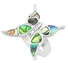 5.48gms abalone paua seashell 925 silver butterfly ring size 7.5 a88566 c13509