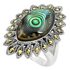 6.31cts abalone paua seashell 925 silver solitaire ring jewelry size 7.5 c17488
