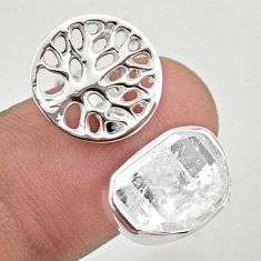 5.76cts adjustable herkimer diamond 925 silver tree of life ring size 8.5 t49376