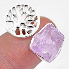 6.04cts adjustable pink kunzite raw 925 silver tree of life ring size 6 t48126