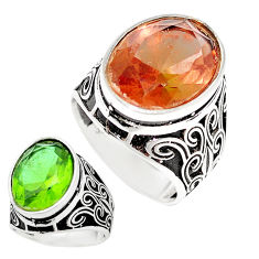13.85cts green alexandrite (lab) 925 silver solitaire mens ring size 9.5 c11182