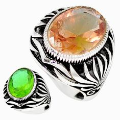 11.22cts green alexandrite (lab) 925 silver solitaire mens ring size 9.5 c11183