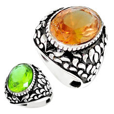 11.30cts green alexandrite (lab) 925 silver solitaire mens ring size 8.5 c11194