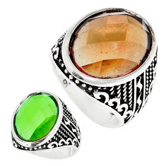 17.44cts green alexandrite (lab) 925 silver solitaire mens ring size 10 c11195