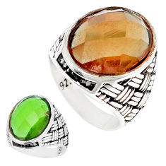 15.64cts green alexandrite (lab) 925 silver solitaire mens ring size 10 c11200